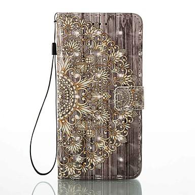 Capinha Para Apple iPhone 7 Plus / iPhone 7 Porta-Cartão / Carteira / Com Suporte Capa Proteção Completa Flor Rígida PU Leather para