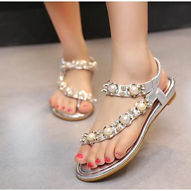 Naiset Kengät PU Kesä Comfort Sandaalit Käyttötarkoitus Kausaliteetti Kulta Musta Hopea