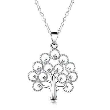 القلائد بيان - تصفيح بطلاء الفضة شجرة الحياة موضة فضي قلادة مجوهرات من أجل يوميا