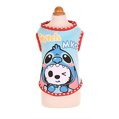Cachorro Camiseta Roupas para Cães Desenho Animado Azul / Rosa claro Algodão Ocasiões Especiais Para animais de estimação Verão Homens / Mulheres Casual / Esportes