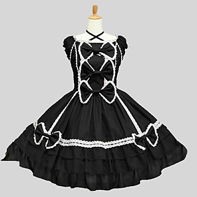 Lolita Clássica e Tradicional Rococó Mulheres Adolescente Para Meninas Vestidos Cosplay Preto Manga Curta Até os Joelhos