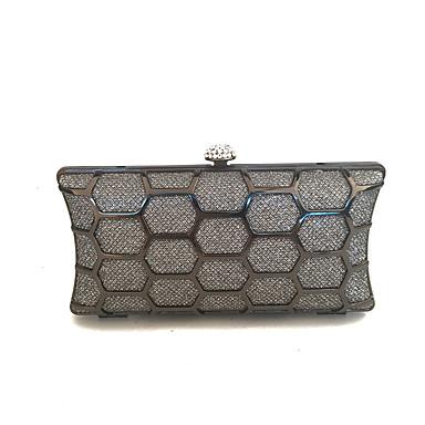 Damen Taschen PVC Leinwand Samt Metall Abendtasche Knöpfe für Winter Grau
