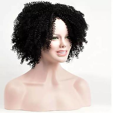 Synthetische Haare Perücken Afro-Frisur Kappenlos Natürliche Perücke Kurz Schwarz