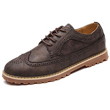 Homens sapatos Couro Ecológico Primavera Outono Conforto Tênis para Ao ar livre Cinzento Castanho Escuro Khaki