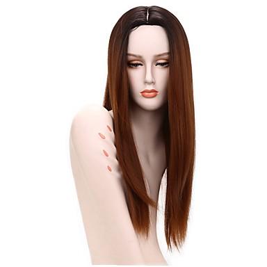 Damen Synthetische Perücken Lang Gerade Medium Auburn Gefärbte Haarspitzen (Ombré Hair) Afro-amerikanische Perücke Natürliche Perücke