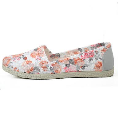 Mulheres Sapatos Tule Verão Solados com Luzes Mocassins e Slip-Ons Sem Salto Ponta Redonda Flor para Casual Café Verde