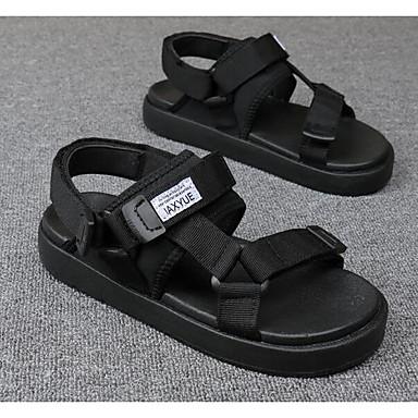 Naiset Sandaalit Canvas Tyll Kevät Valkoinen Musta Tasapohja