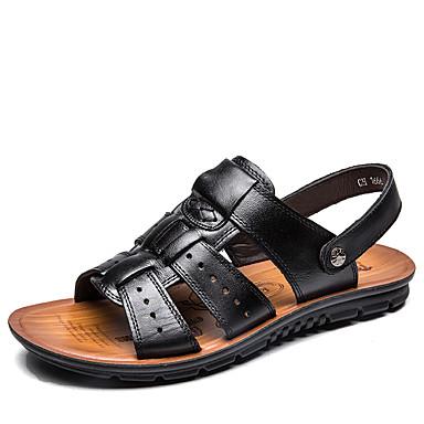 Homens sapatos Couro Primavera Verão Conforto Sandálias Caminhada Tachas para Casual Escritório e Carreira Ao ar livre Preto Marron