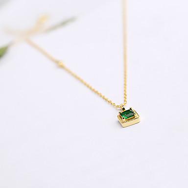 Naisten Riipus-kaulakorut Synteettinen Emerald Korut Zirkoni Smaragdi Metalliseos Muoti Euramerican minimalistisesta Korut Käyttötarkoitus