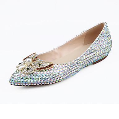 Mujer Zapatos Cuero Primavera / Verano Confort / Innovador Bailarinas Paseo Tacón Plano Dedo Puntiagudo Cristal / Perla Blanco / Boda