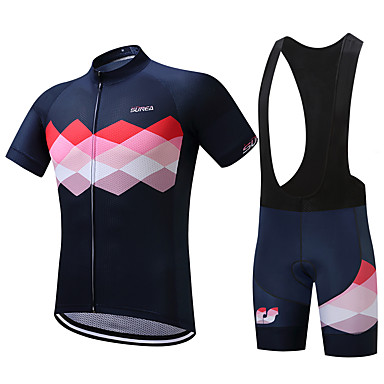 3925b2787 SUREA Men s Short Sleeve Cycling Jersey with Bib Shorts Bike Clothing Suit  Breathable Quick Dry Sweat-wicking Sports Coolmax® Lycra Argyle Mountain  Bike MTB ...