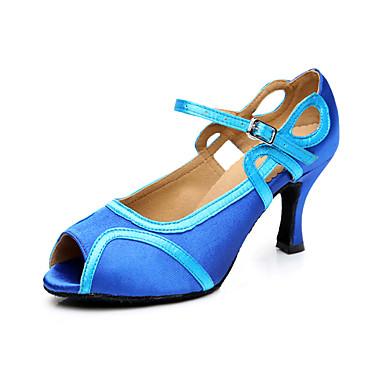 Mulheres Sapatos de Dança Latina Courino Sandália / Têni Presilha Salto Robusto Personalizável Sapatos de Dança Azul / Couro