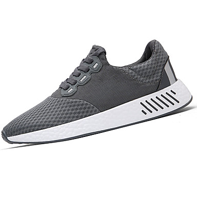 Homens sapatos Borracha Primavera/Outono Conforto Tênis Cadarço para Ao ar livre Preto Cinzento Azul