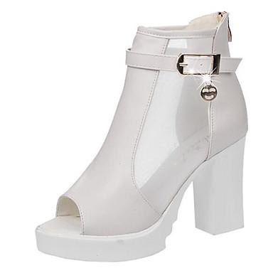 Naiset Kengät PU Kevät Sandaalit Käyttötarkoitus Valkoinen Musta