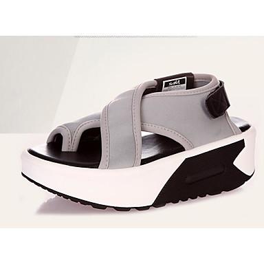 Naiset Sandaalit Comfort Silkki PU Kevät Kausaliteetti Comfort Musta Harmaa Tasapohja