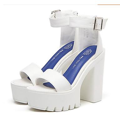 Naiset Kengät Nappanahka Kevät Comfort Korkokengät Käyttötarkoitus Kausaliteetti Puku Valkoinen Musta
