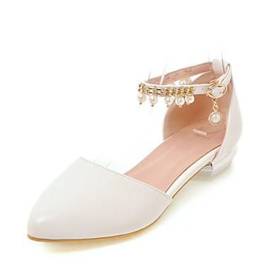Mulheres Sapatos Courino Verão D'Orsay Conforto Sandálias Salto Baixo Dedo Apontado Pérolas Sintéticas para Casual Social Branco Bege
