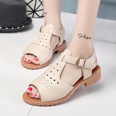 Naiset Sandaalit Comfort Kesä PU Kausaliteetti Tasapohja Valkoinen Harmaa Pinkki Tasapohja