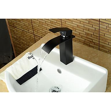 Moderne Antike Mittellage Wasserfall Keramisches Ventil Einhand Ein Loch Öl-riebe Bronze , Waschbecken Wasserhahn