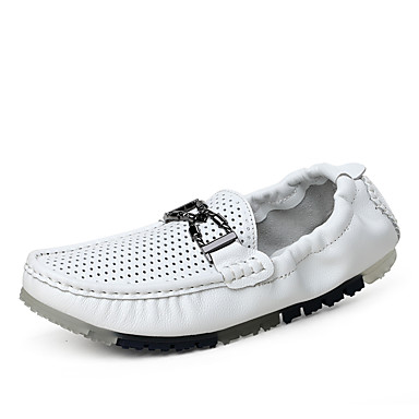 Men's Shoes Cowhide Summer Moccasin Loafers & Slip-Ons Walking Shoes For Casual White Black Brown