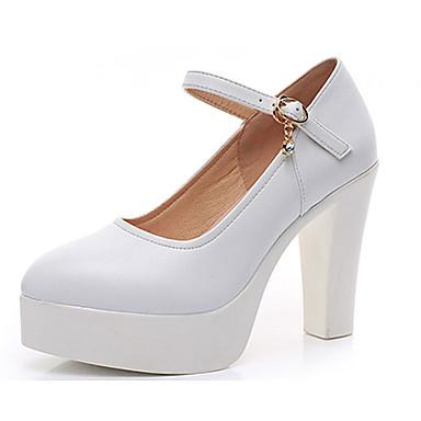 Mulheres Sapatos Couro Primavera / Outono Plataforma Básica Saltos Salto Robusto Dedo Apontado Branco / Preto