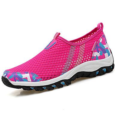 Mulheres Sapatos Tule Verão Rasos Caminhada Sem Salto Ponta Redonda Combinação para Fúcsia Cinzento Claro Azul+Rosa