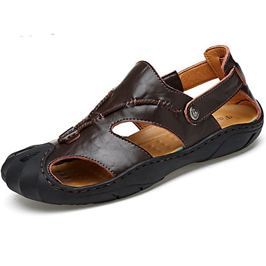 Men's Cowhide Summer Sandals Walking Shoes Dark Brown / Earth Yellow