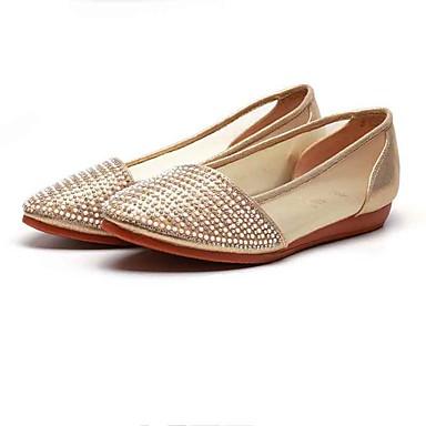 Mulheres Sapatos Tule Tecido Primavera Verão Conforto Rasos Sem Salto Dedo Apontado Miçangas Gliter com Brilho para Casual Escritório e