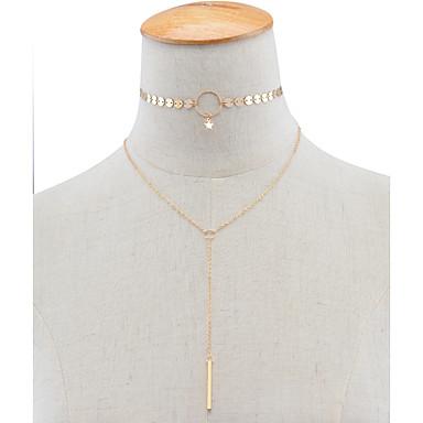 Mulheres Estrela Gargantilhas - Euramerican Fashion Dupla camada Estrela Dourado Prata Colar Para Festa