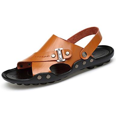 Mulheres Sapatos Couro Ecológico Primavera Verão Sandálias Salto Baixo para Branco Preto Amarelo Castanho Escuro
