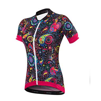 Malciklo Mulheres Manga Curta Camisa para Ciclismo - Preto Floral / Botânico Formais Moto Camisa/Roupas Para Esporte, Secagem Rápida,