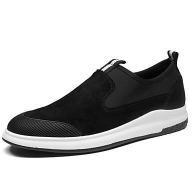 Herrn Schuhe Schweineleder Frühling Herbst Komfort Sneakers Walking für Normal Schwarz Dunkelgrau
