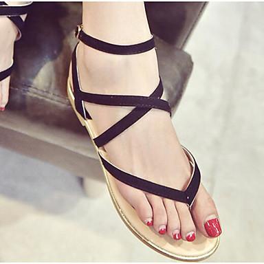 Naiset Kengät Mokkanahka Kevät Comfort Sandaalit Käyttötarkoitus Päivittäin Musta