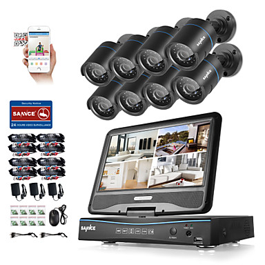 Sannce® 8ch 8pcs 720p ip kamera lcd dvr wetterfestes Sicherheitssystem unterstützt analog ahd tvi ohne hdd