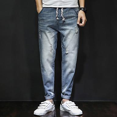 Pánské Jednoduchý Mikro elastické Harémové Džíny Kalhoty Volné Harémové Mid Rise Ripped Jednobarevné