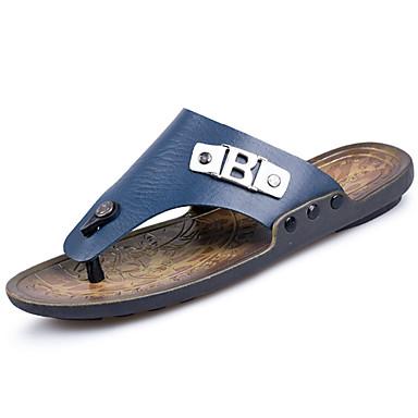 Homens sapatos Couro Ecológico Primavera Verão Conforto Chinelos e flip-flops Caminhada para Casual Azul Castanho Claro