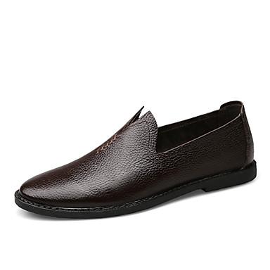 Homens sapatos Pele Primavera Verão Conforto Oxfords para Festa Branco Preto Castanho Escuro