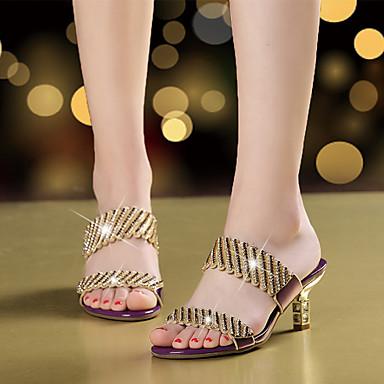 Mulheres Sapatos Microfibra Verão Outono Sandálias Caminhada Salto Agulha Dedo Aberto Pedrarias Gliter com Brilho para Dourado Preto Roxo
