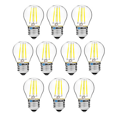 BRELONG® 10pcs 4W 300lm E27 LED Filament Bulbs G45 4 LED Beads COB Dimmable Warm White White 200-240V