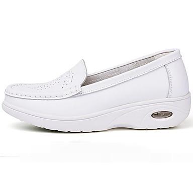 Naiset Kengät PU Kevät Comfort Tasapohjakengät Käyttötarkoitus Kausaliteetti Valkoinen Musta Sininen