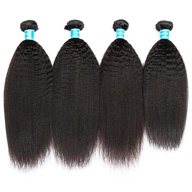 baratos Extensões de Cabelo Natural-4 pacotes Cabelo Vietnamita Kinky Liso 10A Cabelo Virgem Cabelo Humano Ondulado Tramas de cabelo humano Extensões de cabelo humano
