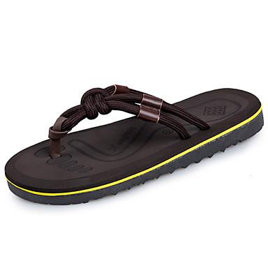 Herrn Schuhe PU Sommer Komfort Slippers & Flip-Flops für Draussen Schwarz Braun
