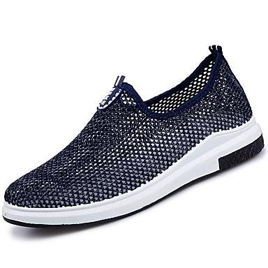 Homens sapatos Tule Verão Mocassins e Slip-Ons Caminhada Combinação para Preto Azul