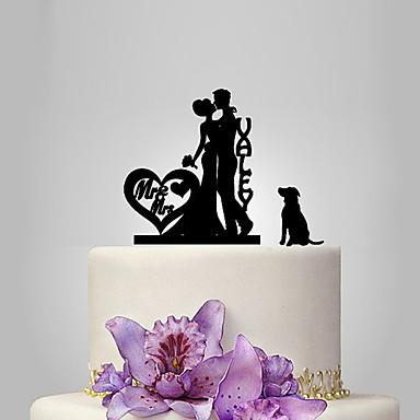 billige Kakedekorasjoner-Kakepynt Klassisk Tema / Romantik / Bryllup Klassisk Par Plast Bryllup med 1 pcs Polyester Veske