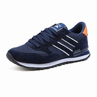 Homens sapatos Flanelado Primavera Verão Conforto Tênis Corrida Cadarço para Atlético Casual Ao ar livre Azul Marinho Cinzento Claro