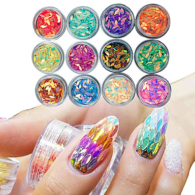 12 box manicure horse eye drop shaped colorful sequins glue nail polish color nail decoration