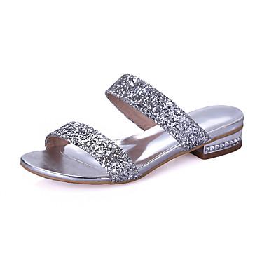 Mulheres Sapatos Courino Primavera Verão Conforto Sandálias Caminhada Salto Robusto Dedo Aberto Presilha para Social Dourado Prata