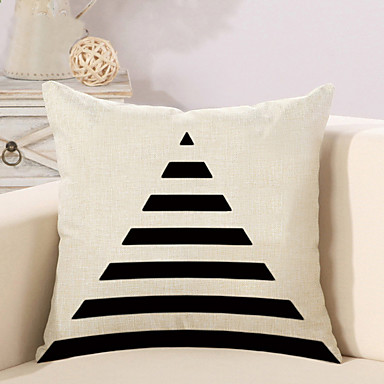 1 pcs Cotton / Linen Pillow Cover / Pillow Case, Geometric Pattern / Novelty / Fashion Geometric / Vintage / Casual