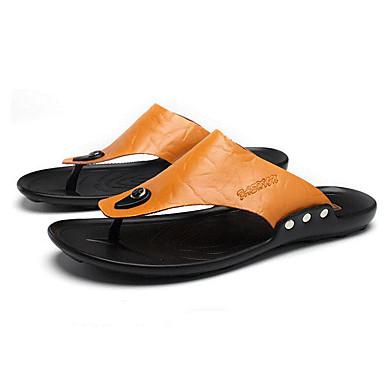 Pánské Sandály Pohodlné Jaro Kůže Ležérní Černá Žlutá Barva obrazovky Plochý