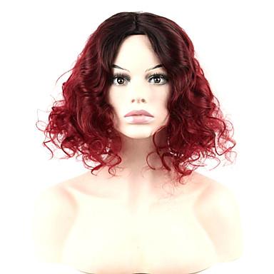 Natürliche Perücken Synthetik Kappenlos Perücken Mittel Rot Haar